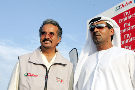 Saeed Hareb (left side), UAE Marine Sports Federation Chairman and CEO of Dubai International Marine Club (DIMC) talking about Emirates Team New Zealand