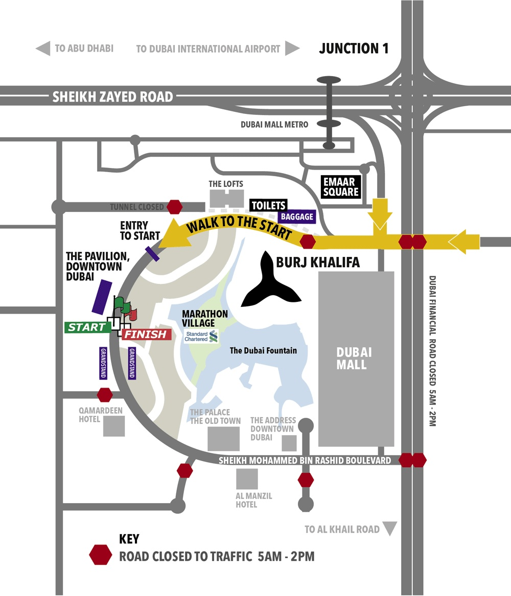 Dubai Standard Chartered Marathon 2013: site map